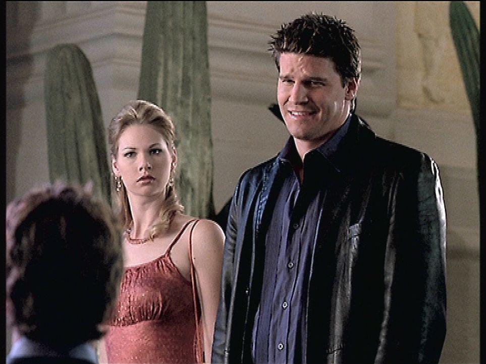 Anne (Julia Lee, l.) ist entsetzt. Was sie von Angel (David Boreanaz, r.) über Lindsey erfahren hat, erschüttert ihre positive Meinung von dem Anwal... - Bildquelle: TM +   2000 Twentieth Century Fox Film Corporation. All Rights Reserved.