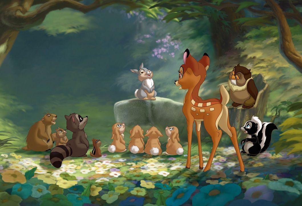 Zusammen mit seinen Freunden will Bambi (3.v.r.) seinen Vater beweisen, dass er mehr ist als nur ein feiges, kleines Rehkitz ... - Bildquelle: Disney  All rights reserved