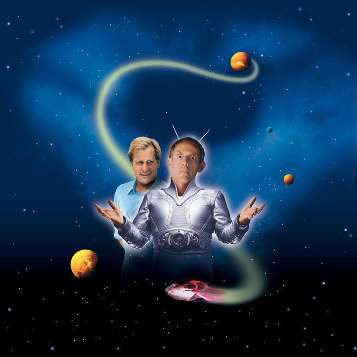 Der Onkel vom Mars - Artwork: Ein Bruchpilot vom Mars (Christopher Lloyd, r.) wirbelt den gesamten Alltag des Erdlings Tim O'Hara (Jeff Daniels, l.)... - Bildquelle: Buena Vista Pictures