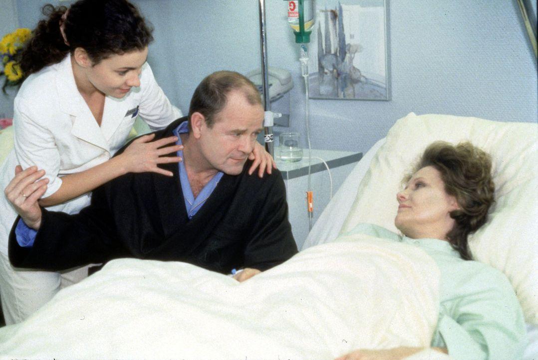 Richter Hans Peter Wiegand (Dieter Mann, M.) hat gerade eine komplizierte Operation überstanden und steht nun schuldbewußt am Krankenbett seiner F... - Bildquelle: Noreen Flynn Sat.1