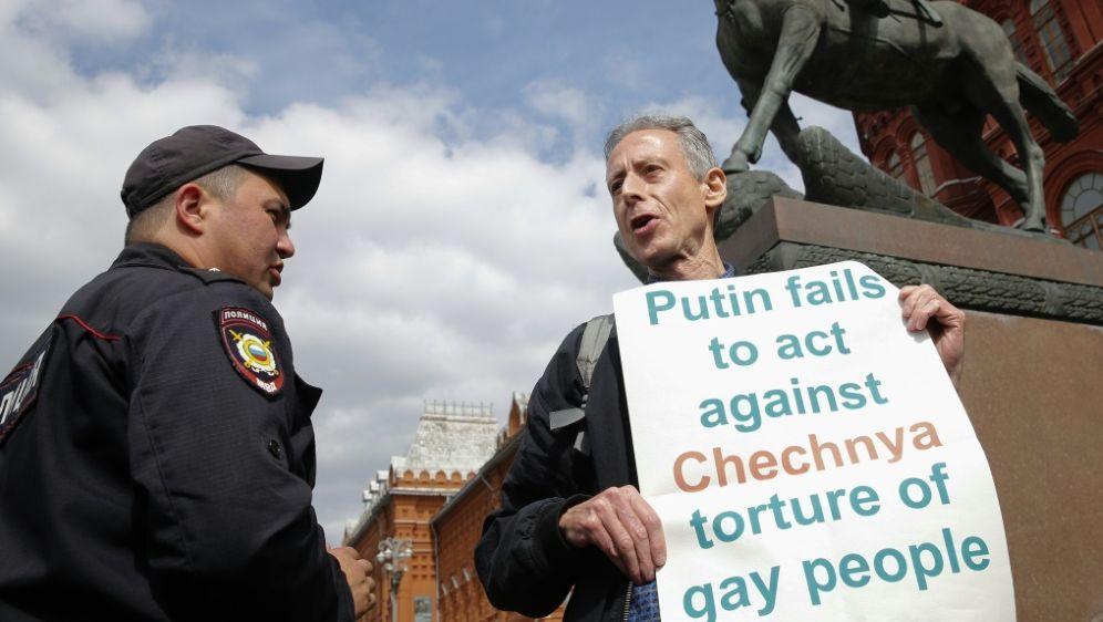 Tatchell protestierte vor dem Kreml gegen Putins Politik - Bildquelle: AFPSIDMAXIM ZMEYEV
