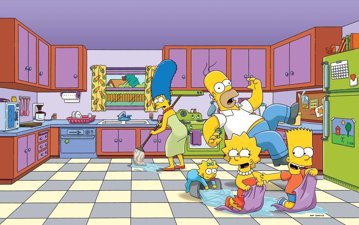 (27. Staffel) - Eine ganz besondere Familie: Maggie (2.v.l.), Marge (l.), Homer (M.), Bart (r.) und Lisa Simpson (2.v.r.) ... - Bildquelle: 2015 Fox and its related entities.  All rights reserved.