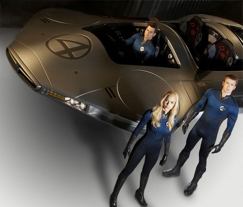 Susan (Jessica Alba, M.), Johnny (Chris Evans, r.) und Reed (Ioan Gruffudd, l.) müssen schnellstmöglich herausfinden, wie sie die Erde retten kön... - Bildquelle: Twentieth Century Fox