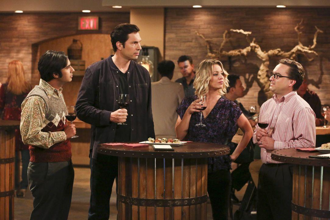 Raj (Kunal Nayyar, l.), Leonard (Johnny Galecki, r.), Howard und Amy begleiten Penny (Kaley Cuoco, 2.v.r.) zu einer Weinverkostung. Dort treffen sie... - Bildquelle: 2016 Warner Brothers