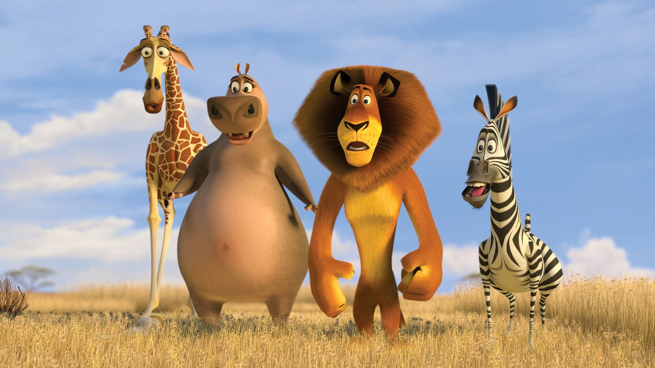 Giraffe Melman (l.), Nilpferd Gloria (2.v.l.), Löwe Alex (2.v.r.) und Zebra Marty (r.) stürzen mit einem selbstreparierten Flugzeug auf dem Weg na... - Bildquelle: (2008) DREAMWORKS ANIMATION LLC. ALL RIGHTS RESERVED.