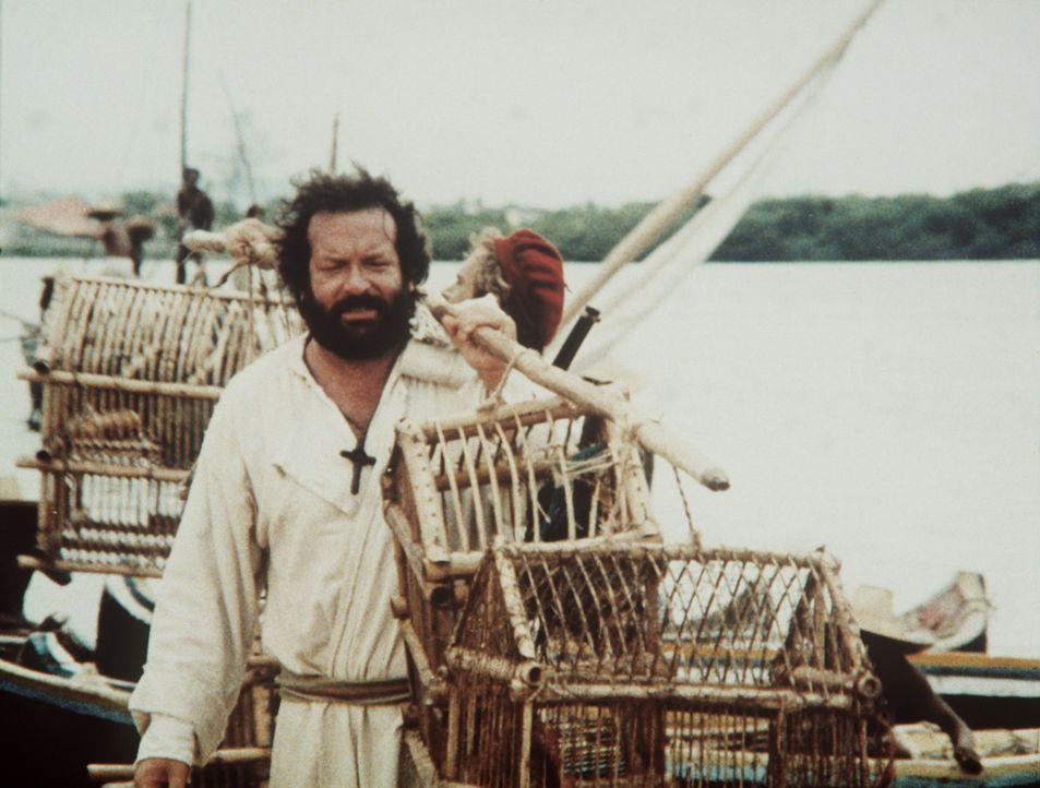 Die beiden unkonventionellen Missionare Pater J. (Terence Hill, hinten) und Pater Pedro (Bud Spencer, vorne) züchten Papageien und verkaufen Kaffee... - Bildquelle: Tobis Filmkunst