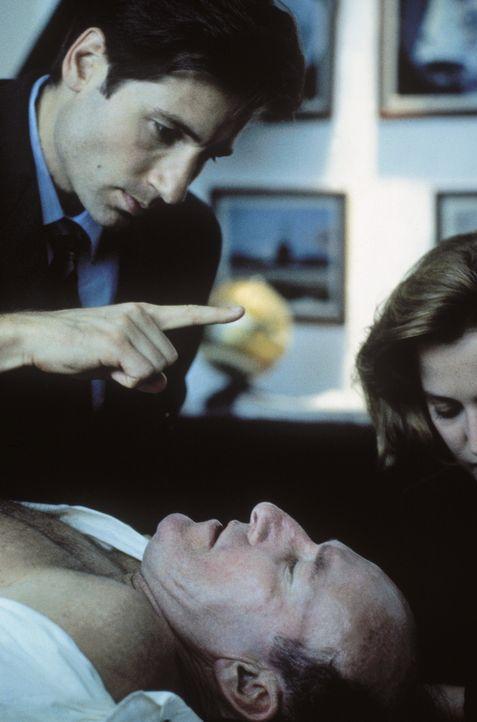 Projektleiter Colonel Belt (Ed Lauter, vorne) wird von einer fremden Macht gesteuert. Mulder (David Duchovny, l.) und Scully (Gillian Anderson, r.)... - Bildquelle: TM +   Twentieth Century Fox Film Corporation. All Rights Reserved.