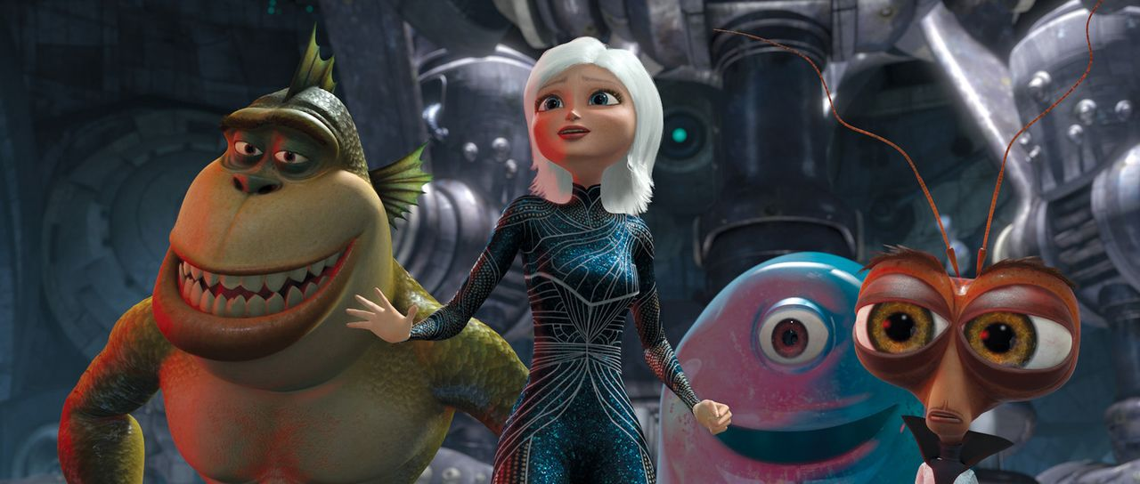 Stehen vor einer schwierigen Aufgabe: B.O.B. (2.v.r.), Missing Link (l.), Dr. Kakerlake (r.) und Gigantika (2.v.l.) sollen die Welt vor der bevorste... - Bildquelle: TM and   2008 by DreamWorks Animation LLC. All rights reserved.