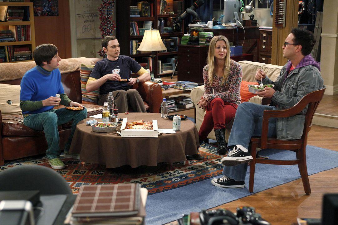 Da Raj keine Freundin hat, beschließen Penny (Kaley Cuoco, 2.v.r.), Sheldon (Jim Parsons, 2.v.l.), Leonard (Johnny Galecki, r.) und Howard (Simon H... - Bildquelle: Warner Bros. Television