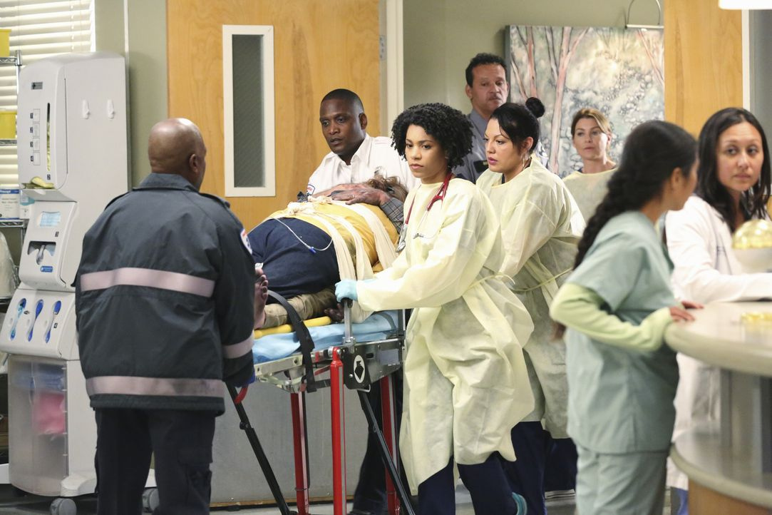 Ob die Ärzte Maggie (Kelly McCreary, 3.v.l.) und Callie (Sara Ramirez, 4.v.r.) es schaffen, die zwei umschlungenen Brandopfer zu retten? - Bildquelle: ABC Studios