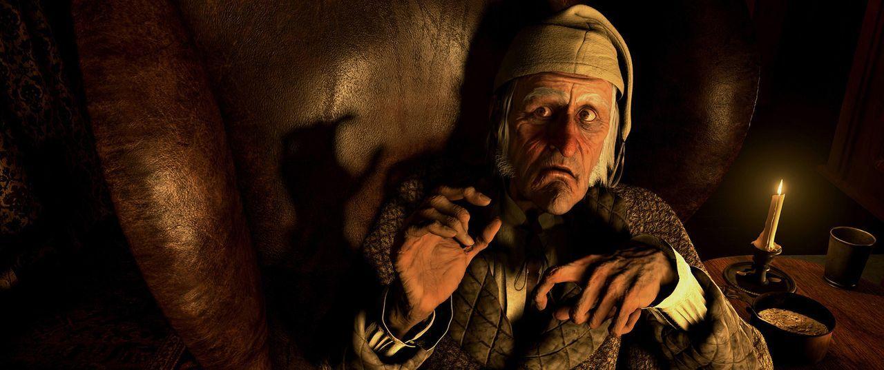 Die Geister der vergangenen, gegenwärtigen und zukünftigen Weihnacht schauen bei dem selbstsüchtigen und eigensinnigen Ebenezer Scrooge (Jim Carr... - Bildquelle: Walt Disney Pictures/Imagemovers Digital, LLC.