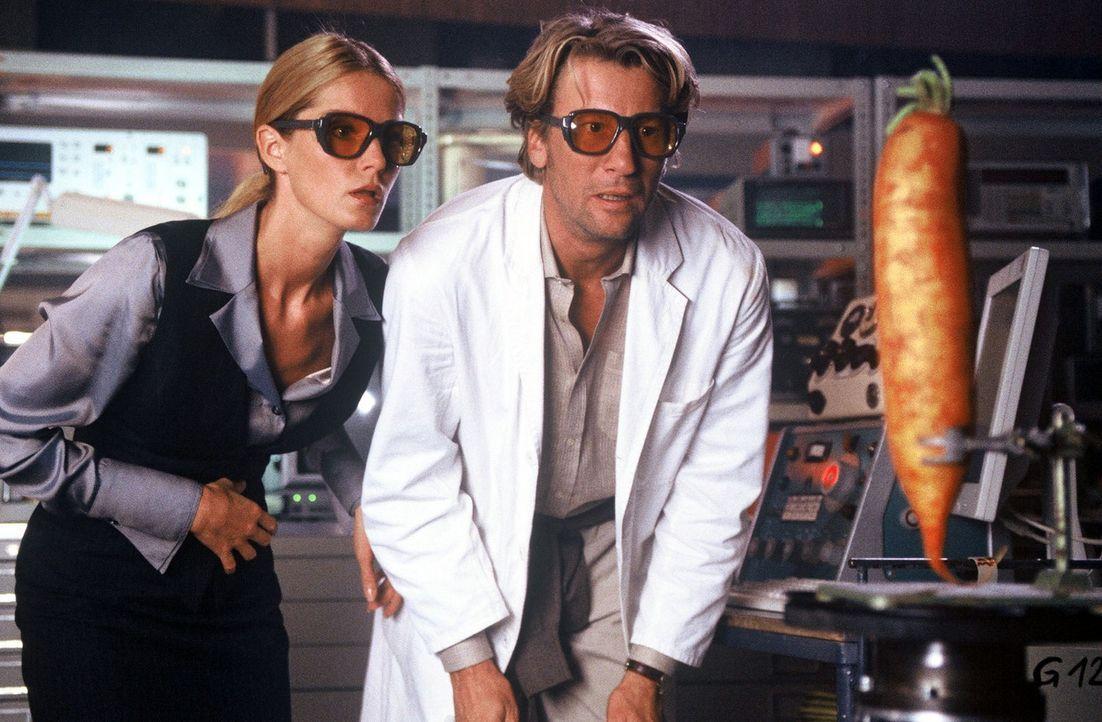 Es funkt im Labor: Vicky (Esther Schweins, l.) und Jakob (Michael von Au, r.) bestaunen die wachsende Wundermöhre. - Bildquelle: Jörg Klaus Sat.1