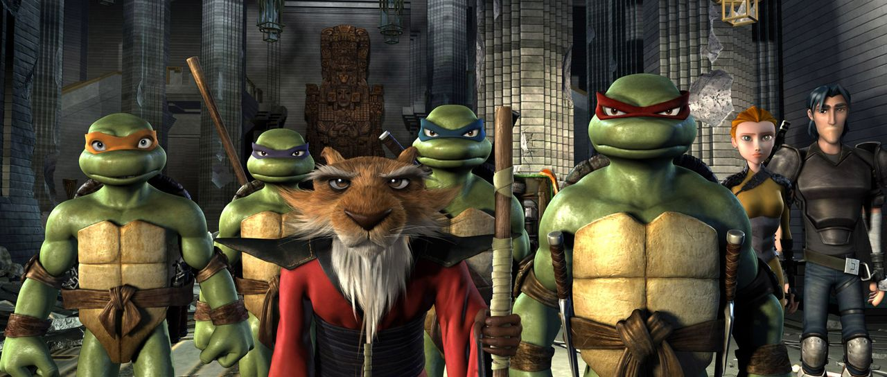 Meister Splinter, die mutierte Ratte, brachte seinen Schützlingen Leonardo (3. v. l.), Donatello (2. v. l.), Raphael (3. v. r.) und Michelangelo (l.... - Bildquelle: TOBIS Filmkunst GmbH