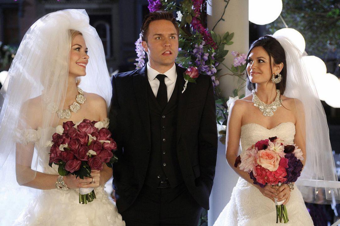 Der Tag der Hochzeit rückt immer näher. Stellt sich für George (Scott Porter, M.) wirklich noch die Frage, ob er Lemon (Jaime King, l.) oder Zoe (Ra... - Bildquelle: Warner Bros.