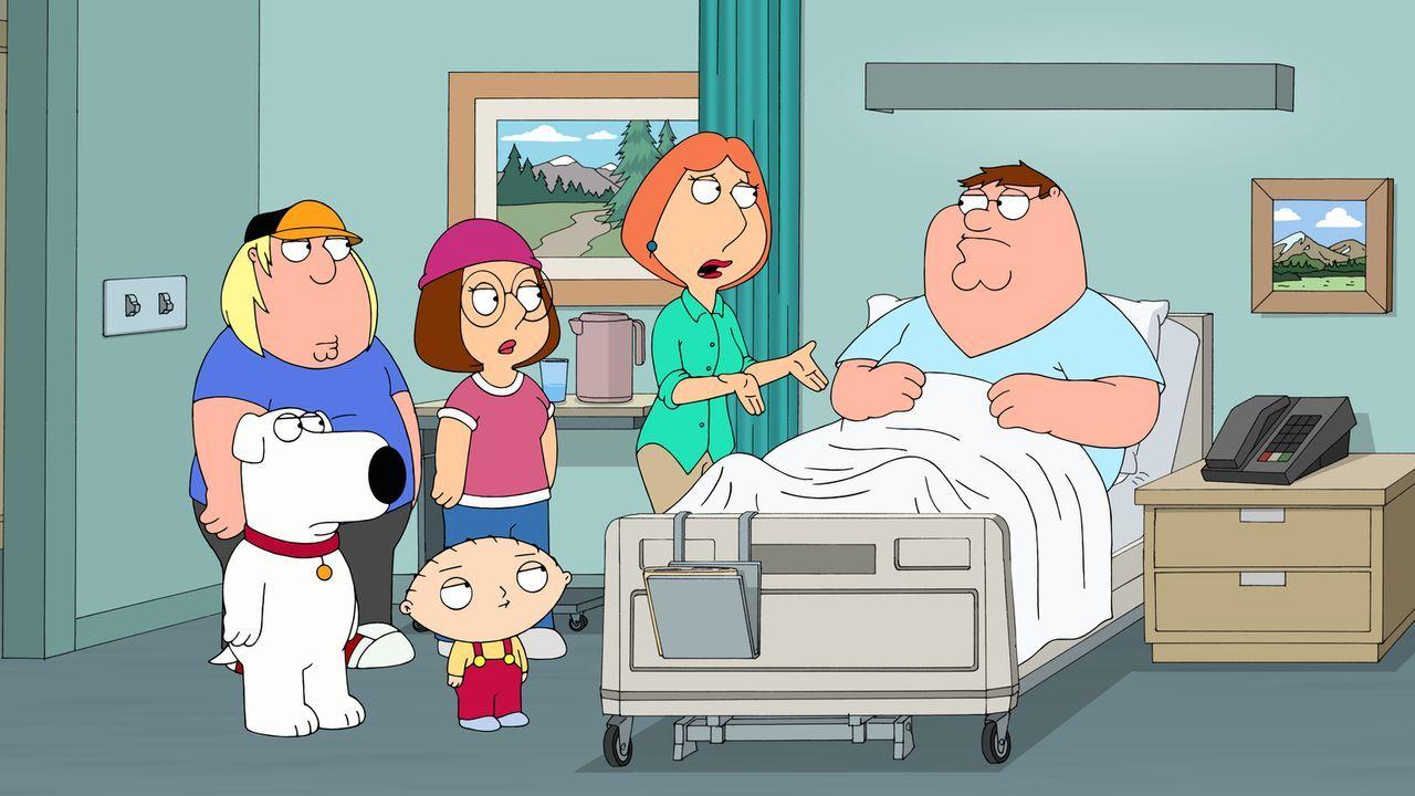 Nach einem missglückten Fallschirmsprung machen sich Lois (2.v.r.), Chris (l.), Meg (2.v.l.), Stewie (vorne r.) und Brian (vorne l.) Sorgen um Peter... - Bildquelle: 2013 Twentieth Century Fox Film Corporation. All rights reserved.