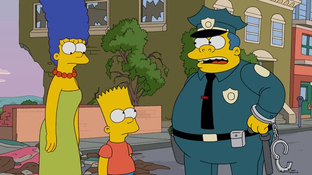 Die Simpsons - Steckt Bart (M.) hinter der Bulldozer-Attacke auf die Stadt od...