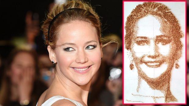 """Stars - """"Die Tribute von Panem""""-Star Jennifer Lawrence: Nuss-Portrait im Kuriositätenkabinett ausgestellt"""