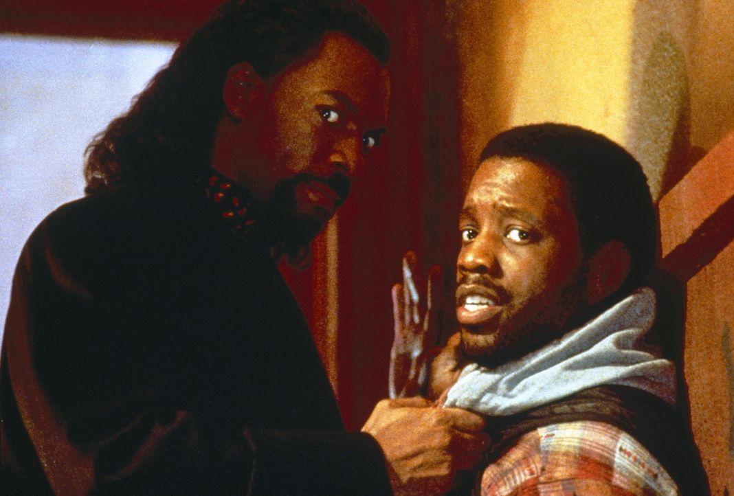 Geraten blutig aneinander: Julius (Kadeem Hardison, r.) und der liebeshungrige Vampir Maximillian (Eddie Murphy, l.) ... - Bildquelle: Paramount Pictures