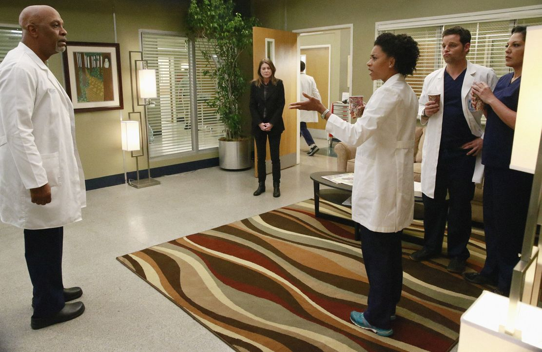 Meredith (Ellen Pompeo, 2.v.l.) versucht, ihren Kollegen Richard (James Pickens, Jr., l.), Alex (Justin Chambers, 2.v.r.), Callie (Sara Ramirez, r.)... - Bildquelle: ABC Studios
