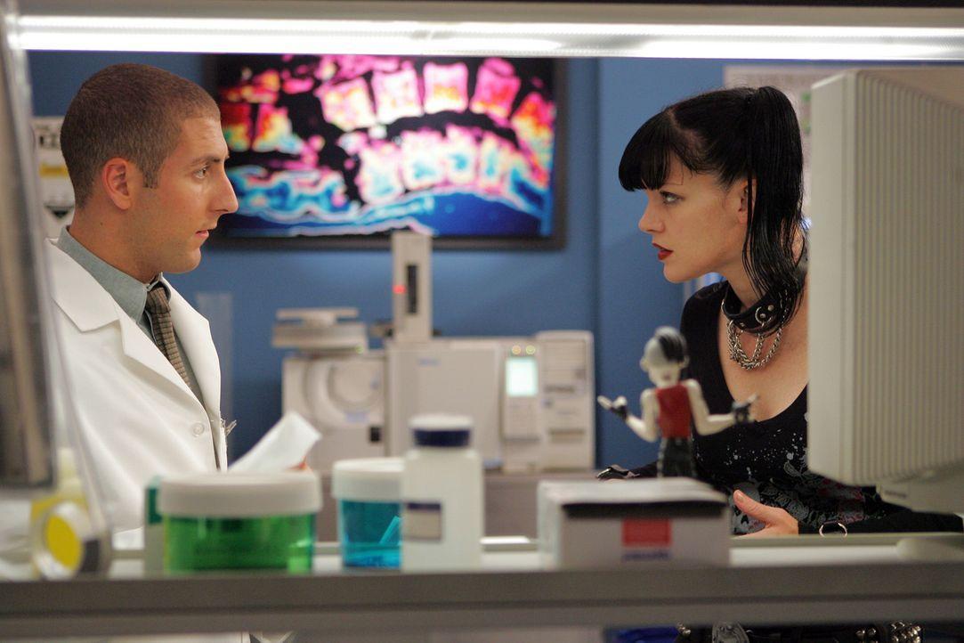 Abby (Pauley Perrette, r.) ist überzeugt, dass Tony kein Mörder ist und versucht dies zu beweisen. Charles (Michael Bellisario, l.) dagegen kommt... - Bildquelle: TM &   2006 CBS Studios Inc. All Rights Reserved.