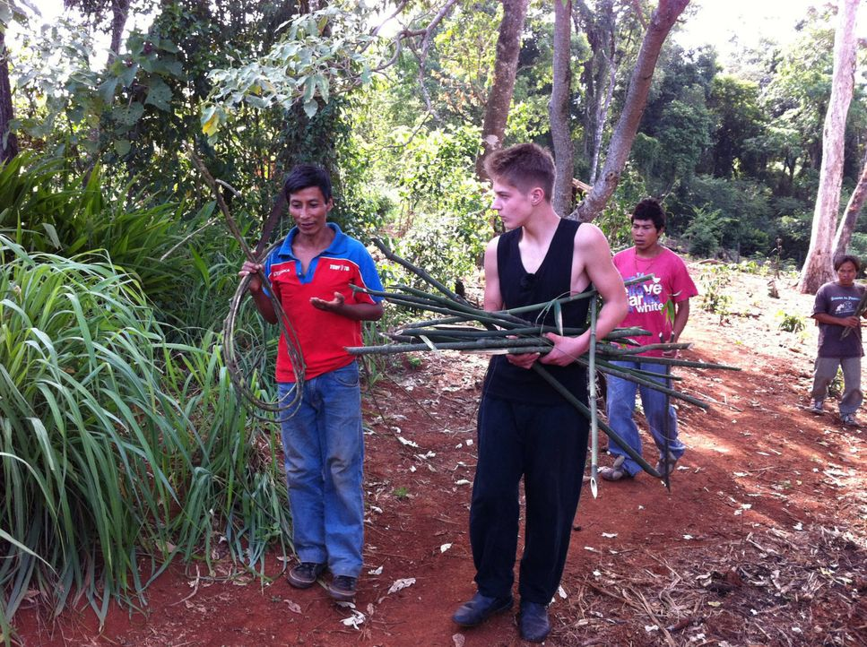 Gastvater und Stammesvater Eliseo (l.) erklärt Pascale (M.) die Besonderheiten von Bambus ? - Bildquelle: kabel eins