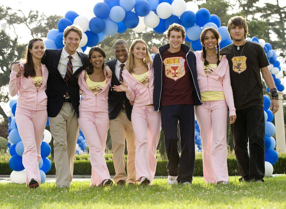 """Die """"Griechische Woche"""" steht an, die Verbindungen treten in verschiedenen Wettkämpfen gegeneinander an: Rebecca (Dilshad Vadsaria, 3.v.l.), Casey (... - Bildquelle: 2008 ABC Family"""