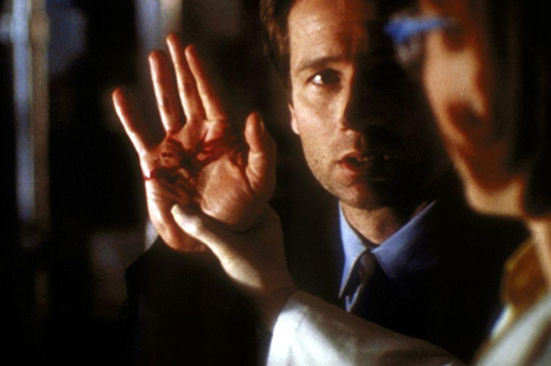 Als Mulder (David Duchovny) beim Husten Blut spuckt, ist ihm klar, dass auch er einen neuartigen todbringenden Tabakrauch eingeatmet hat. - Bildquelle: TM +   2000 Twentieth Century Fox Film Corporation. All Rights Reserved.