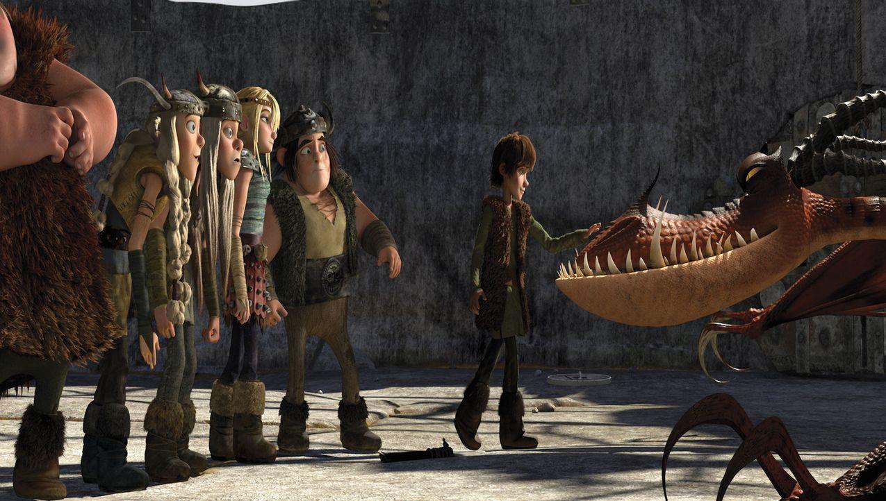 Die jungen Drachenbekämpfer staunen nicht schlecht: Der feige Hicks (r.) traut sich gefährlich nah an eines der berüchtigten Monster heran. - Bildquelle: 2012 by DreamWorks Animation LLC. All rights reserved.