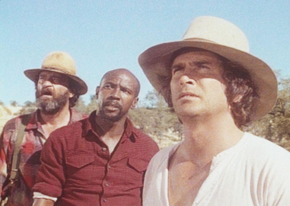 Charles (Michael Landon, r.), Henry (Louis Gossett jr., M.) und Murphy (Richard Jaeckel, l.) werden auf ihrem Sprengstofftransport von Gangstern üb... - Bildquelle: Worldvision