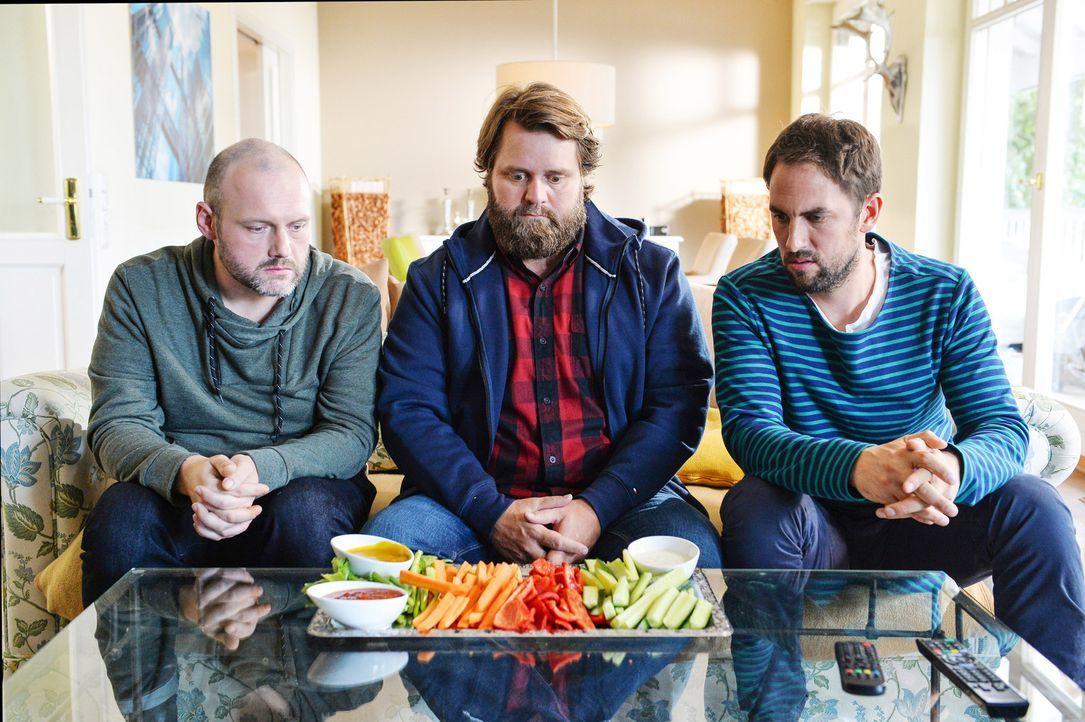 """(2. Staffel) -  Haben die """"Knallerkerle"""" Jakob Schneider, Antoine Monot Jr. und Jan Hasenfuss (v.l.n.r.) eine Gemüsephobie? - Bildquelle: Willi Weber SAT.1"""