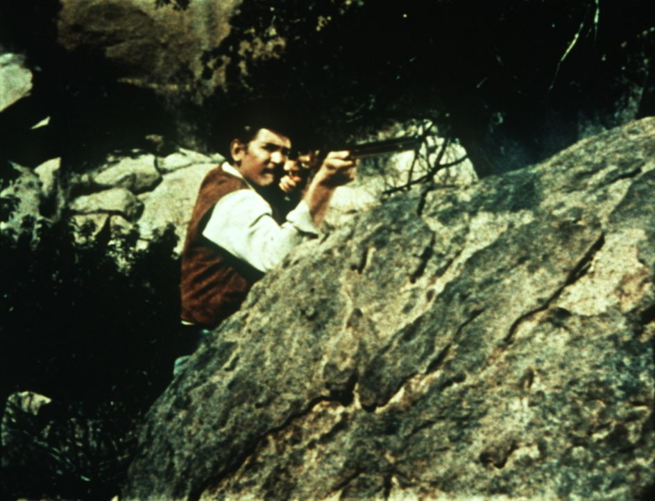 Little Joe Cartwright (Michael Landon) im Feuergefecht mit Drummonds Leuten ... - Bildquelle: Paramount Pictures