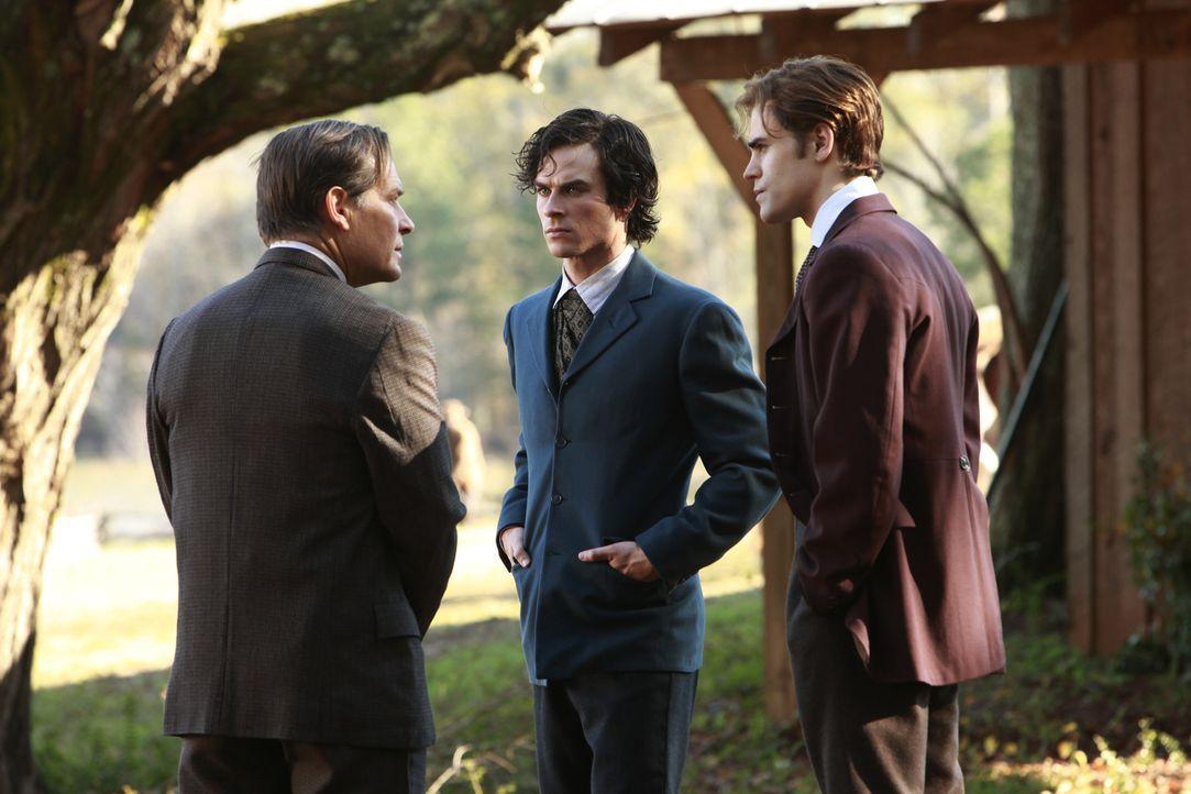Das Verhältnis zwischen Giuseppe (James Remar, l.) und Damon (Ian Somerhalder, M.) ist nicht sehr gut - Stefan (Paul Wesley, r.) versucht, zu vermit... - Bildquelle: Warner Bros. Television