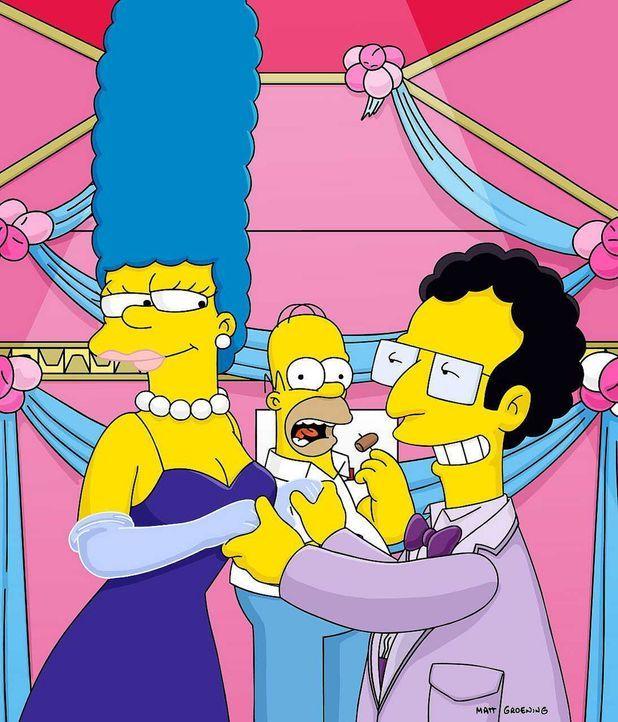 Als Marges (l.) steinreicher Ex-Freund Artie (r.) Homer (M.) eine Million Dollar für ein Wochenende mit seiner Frau anbietet, nimmt dieser in seiner... - Bildquelle: und TM Twenthieth Century Fox Film Corporation - Alle Rechte vorbehalten