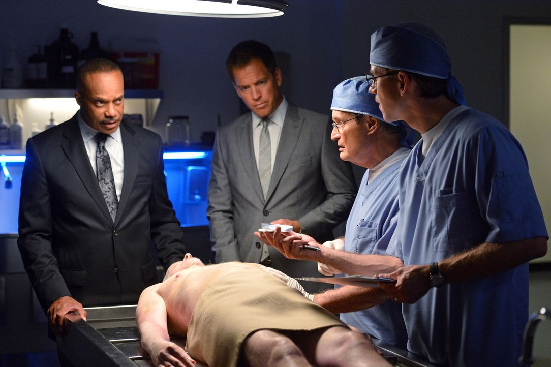 Leon Vance (Rocky Carroll, l.), Anthony DiNozzo (Michael Weatherly, 2.v.l.), Dr. Donald Mallard (David McCallum, 2.v.r.) und Jimmy Palmer (Brian Die... - Bildquelle: 2014 CBS Broadcasting, Inc. All Rights Reserved