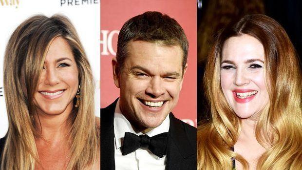 Collage mit Jennifer Aniston, Matt Damon und Drew Barrymore