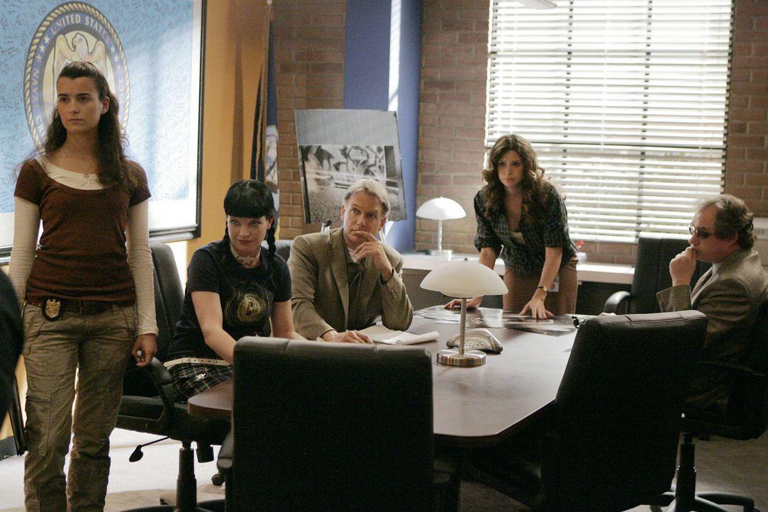 Versuchen gemeinsam den Mörder des toten Marine zu finden: Ziva (Cote de Pablo, l.), Abby (Pauley Perrette, 2.v.l.), Gibbs (Mark Harmon, M.), Bryn... - Bildquelle: CBS Television