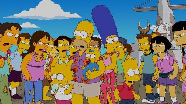 Die Simpsons - Ein Familienurlaub der besonderen Art: Homer (vorne 2.v.l.), M...