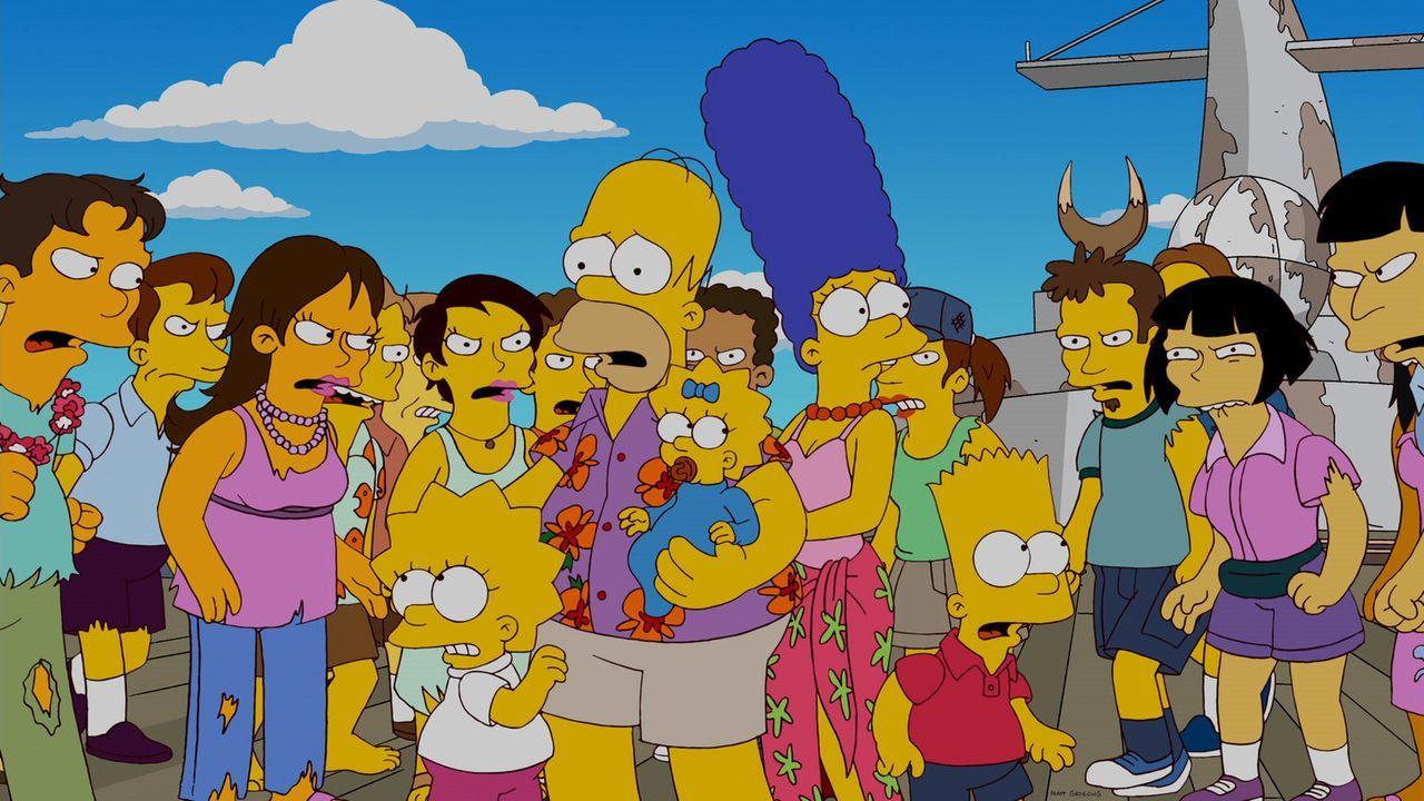 Ein Familienurlaub der besonderen Art: Homer (vorne 2.v.l.), Marge (vorne 2.v.r.), Bart (vorne r.), Lisa (vorne l.) und Maggie (vorne M.) ... - Bildquelle: und TM Twentieth Century Fox Film Corporation - Alle Rechte vorbehalten