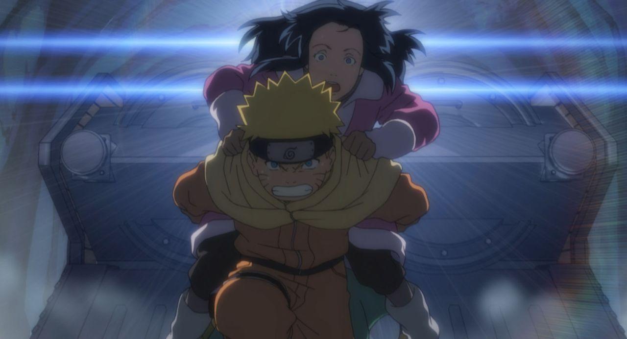 Ninja-Schüler Naruto (l.) wird gemeinsam mit Sakura und Sasuke beauftragt, auf die berühmte Schauspielerin Yukie (r.) bei Dreharbeiten im Land des e... - Bildquelle: MASASHI KISHIMOTO  NMP 2004