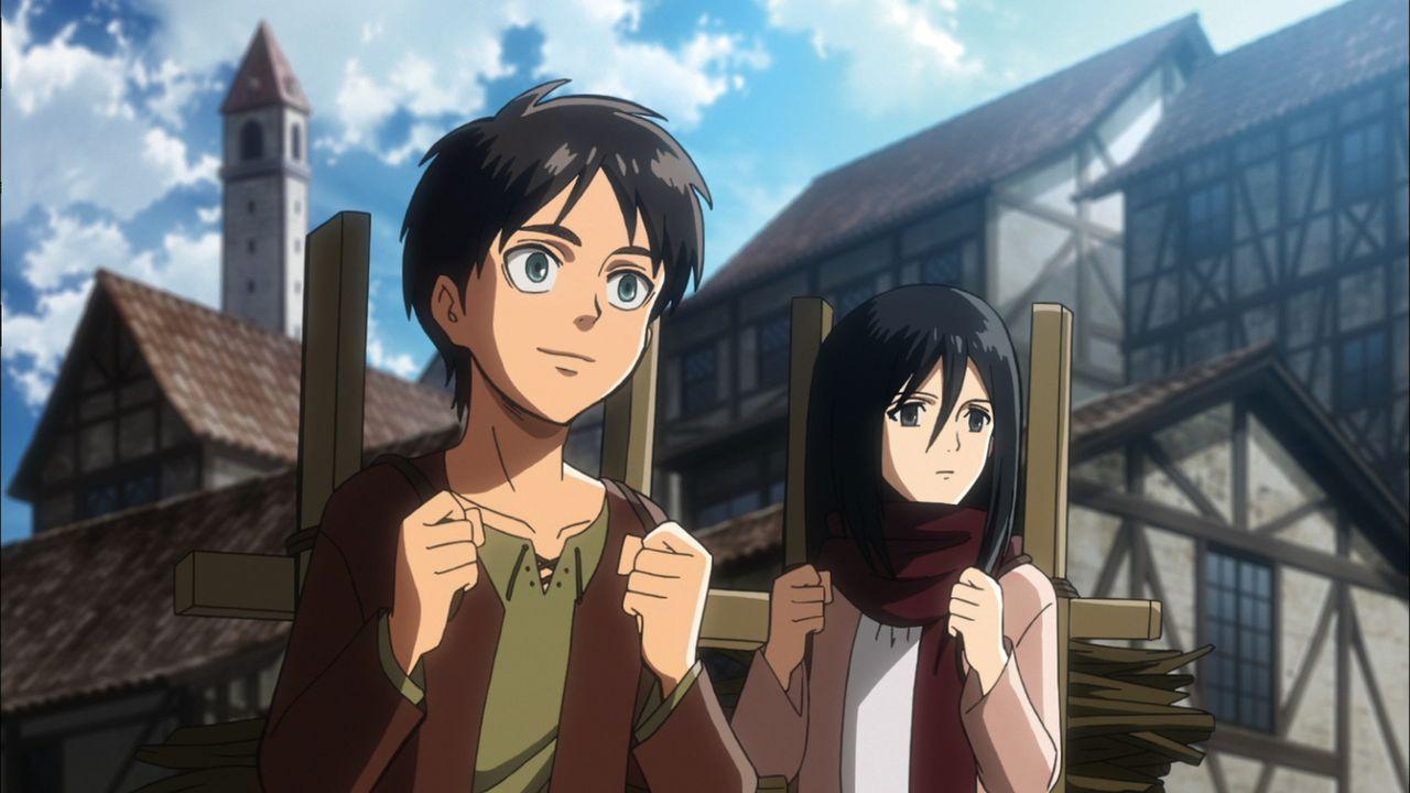 """Teenager Eren (l.) und seine Pflegeschwester Mikasa (r.) werden Zeugen, als die Stadtmauern von einem kollossalen Titanen, der aus dem Nichts ersche... - Bildquelle: Hajime Isayama,Kodansha/""""ATTACK ON TITAN""""Production Comittee All Rights Reserved."""