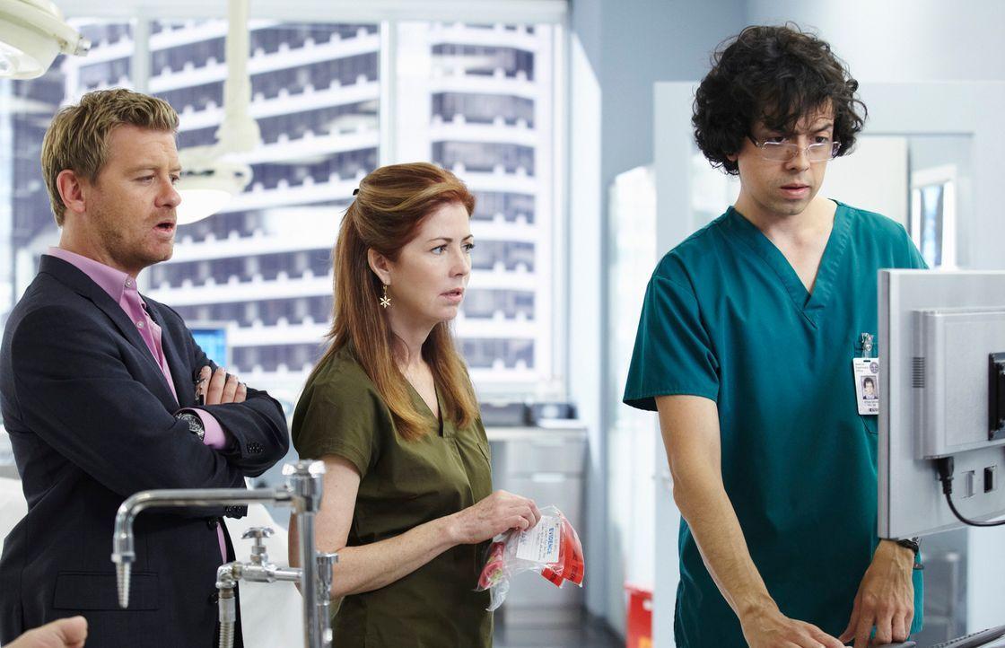 Versuchen den Mord an Ed Russel aufzuklären: Megan (Dana Delany, M.), Peter (Nicholas Bishop, l.) und Ethan (Geoffrey Arend, r.) ... - Bildquelle: ABC Studios