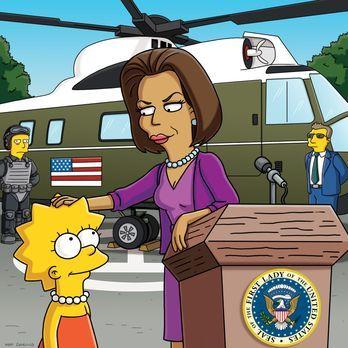 Die Simpsons - Lisa (l.) trifft auf Michelle Obama, die First Lady von Amerik...