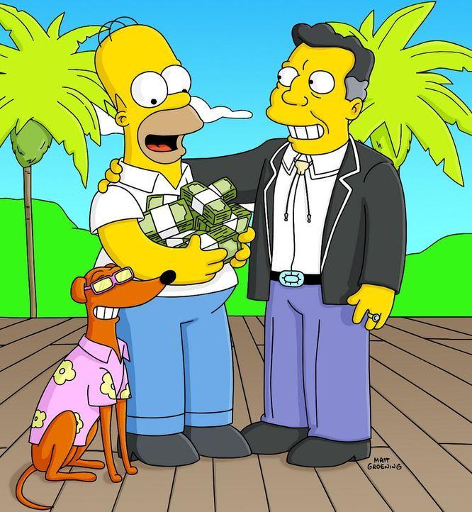 Homer Simpson (M.) winkt viel Geld und Ruhm, denn Knecht Ruprecht (l.) wird von H.K. Duff VII (r.) als neues Maskottchen der Duff-Brauerei auserwäh... - Bildquelle: TWENTIETH CENTURY FOX FILM CORPORATION