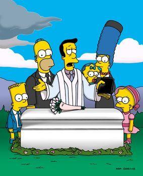 Die Simpsons - Reverend Lovejoy (M.) hält die Grabrede bei Maudes Beerdigung....