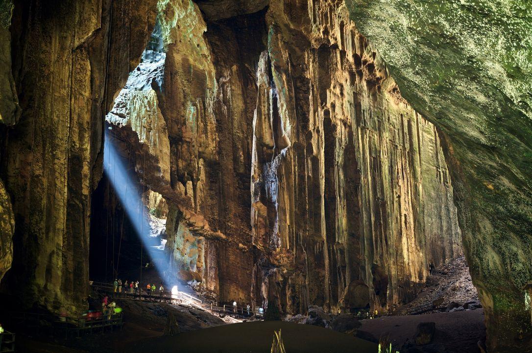 Die beeindruckende Goamantong-Höhle in Sabah, Borneo: Sir David Attenborough hatte die Höhle zum ersten Mal im Jahr 1972 besucht. Nun kehrt er dorth... - Bildquelle: Adam Scott Adam Scott