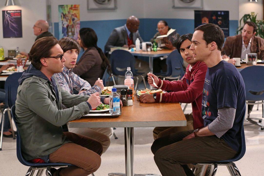 Gespräche unter wahren Männern: Leonard (Johnny Galecki, l.), Howard (Simon Helberg, 2.v.l.), Raj (Kunal Nayyar, 2.v.r.) und Sheldon (Jim Parsons, r... - Bildquelle: Warner Brothers
