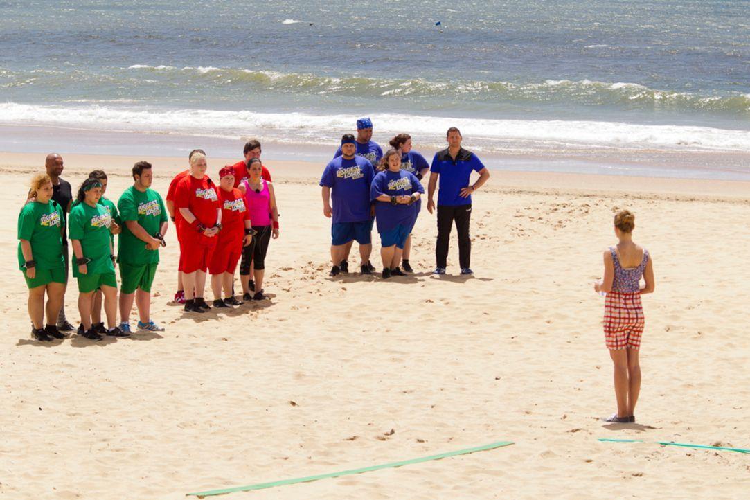 Auf Christine Theiss' (r.) Kandidaten wartet eine schwierige Challenge am Strand ... - Bildquelle: Enrique Cano SAT.1