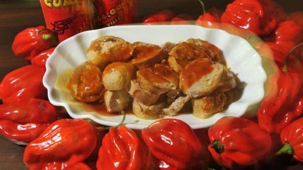 Fruchtig-würzige Sauce mit Paprika, Jalapenos, Mango- und Feigenstückchen