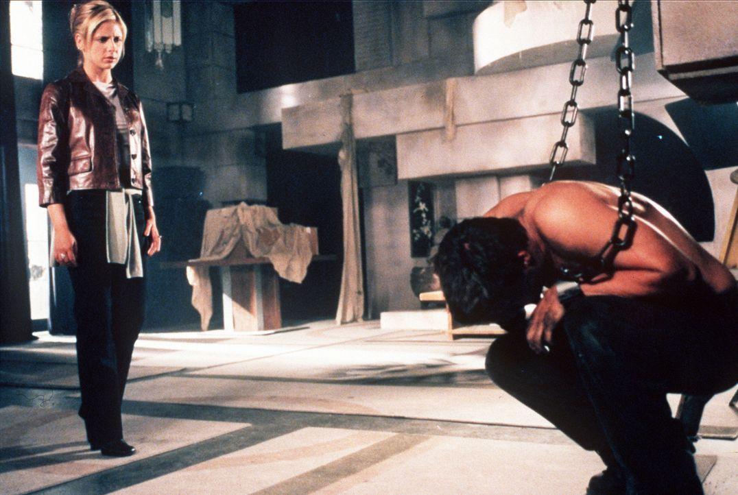 Buffy (Sarah Michelle Gellar, l.) musste sich gegen Angel (David Boreanaz, r.) zur Wehr setzen, der sie rasend vor Wut angegriffen hatte. - Bildquelle: TM +   2000 Twentieth Century Fox Film Corporation. All Rights Reserved.