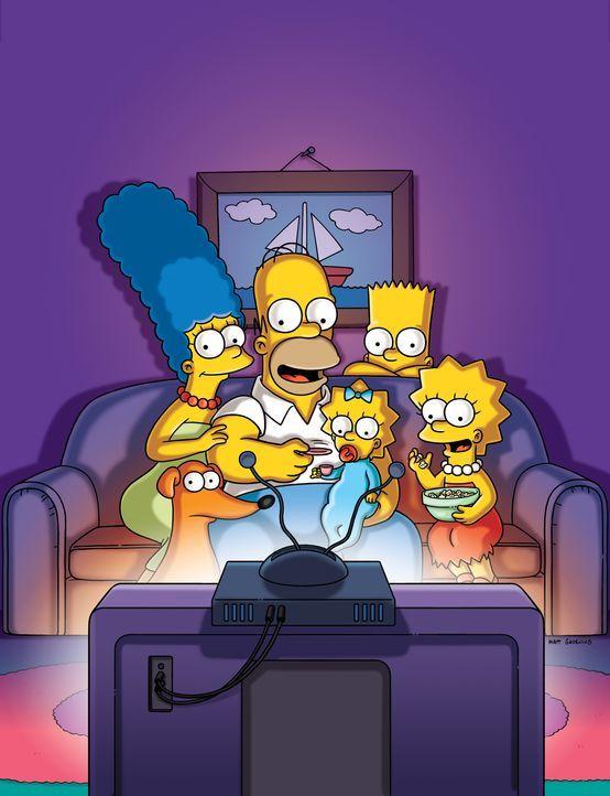 (27. Staffel) - Die Simpsons sind eine nicht alltägliche Familie: Maggie (M.), Marge (l.), Lisa (r.), Homer (2.v.l.) und Bart (2.v.r.) ... - Bildquelle: 2015 Fox and its related entities.  All rights reserved.